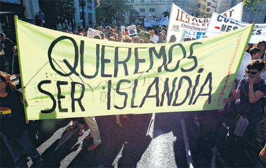'We want to be Iceland' reads the banner of students and teachers in Valencia, Spain, who were protesting yesterday against cuts in education spending that labour unions say will put 100,000 substitute teachers out of work.