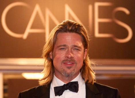 Cast member Brad Pitt poses on the red carpet after the screening of the film
