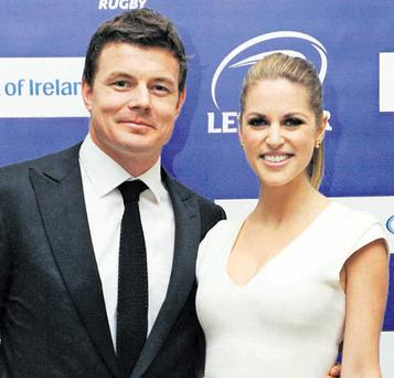 Leinster captain Brian O'Driscoll with wife, actress Amy Huberman