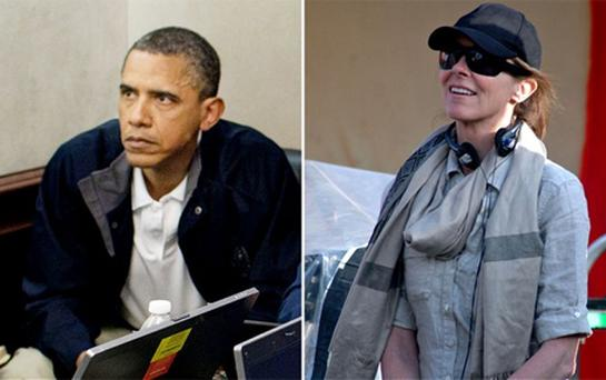 Mr Obama watching the raid at the White House; and the director Kathryn Bigelow on the set of the film. Photo: AP