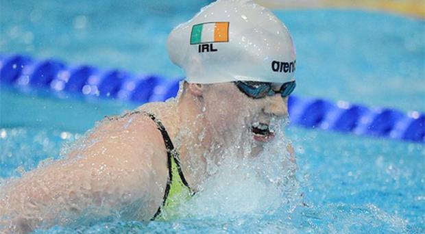Ireland's Sycerika McMahon, from Portaferry, Co. Down, makes her way out for the Final of the Women's 100m Breaststroke. Photo: Sportsfile