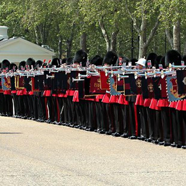 A general view of the 91 members of seven military units that joined forces to break the Guinness World Record for the longest line of fanfare trumpeters