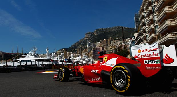 Fernando Alonso of Spain and Ferrari drives during practice for the Monaco Grand Prix. Photo: Getty Images