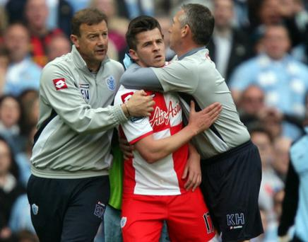 File photo dated 13/05/2012 of QPR's Joey Barton after being sent off during the Barclays Premier League match at the Etihad Stadium. PRESS ASSOCIATION Photo. Issue date: Wednesday May 23, 2012. QPR midfielder Joey Barton has been banned for 12 matches by the Football Association following his red card at Manchester City, Press Association Sport understands. See PA story SOCCER Barton. Photo credit should read: Dave Thompson/PA Wire