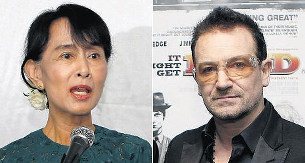 Bono has long been a vocal supporter of Burmese opposition leader Aung San Suu Kyi