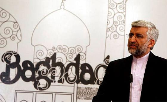 Iran's chief negotiator Saeed Jalili addresses a news conference after a meeting in Baghdad. Photo: Reuters