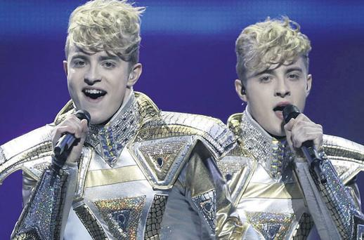Brothers in arms: Jedward perform 'Waterline' at the Eurovision semi-final on Tuesday night in Azerbaijan