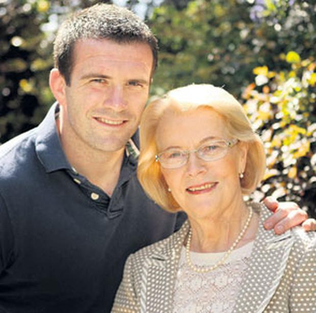 TOWERS OF STRENGTH: Leinster player Shane Jennings and his mother Joan Young, who twice had to go through the agony of having cancer of the mouth. Photo: Gerry Mooney