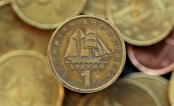 A drachma coin. Photo: Reuters