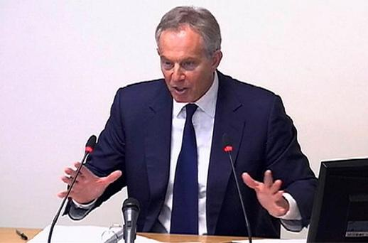 Britain's former Prime Minister Tony Blair speaking at the Leveson Inquiry. Photo: PA