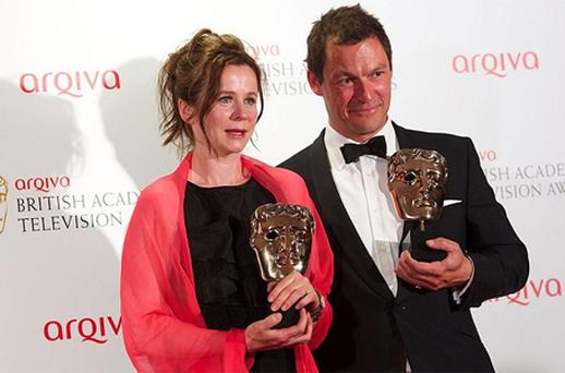 Winners of Best Leading Actress and Best Leading Actor for 'Appropriate Adult' Emily Watson and Dominic West. Photo: Getty Images