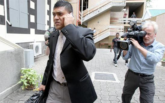Constable Seevathian after giving evidence at the Supreme Court in Port Louis, Mauritius on day five of the trial.