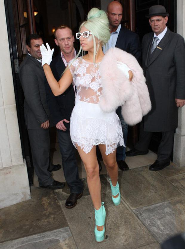 LONDON, UNITED KINGDOM - OCTOBER 05: Lady GaGa seen leaving her hotel and arriving at the ITV studios on October 5, 2011 in London, England. (Photo by Alex Moss/FilmMagic)