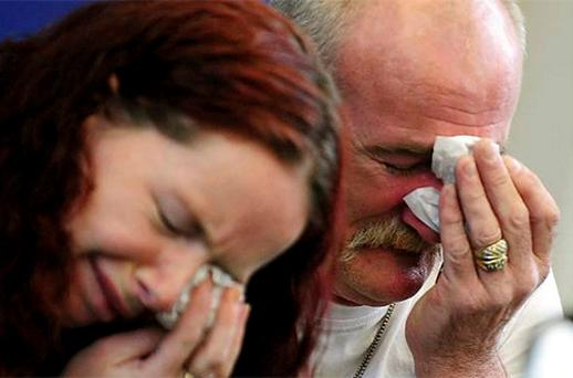 Mick Philpott and wife Mairead speaking to the media following the fire. Photo: PA