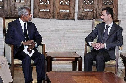 UN-Arab League Joint Special Envoy for Syria (JSE) Kofi Annan meets Syrian President Bashar Assad. Photo: AP