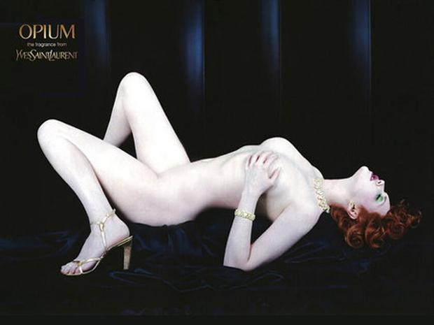 Sophie Dahl poses in a Yves Saint Laurent ad for Opium perfume.