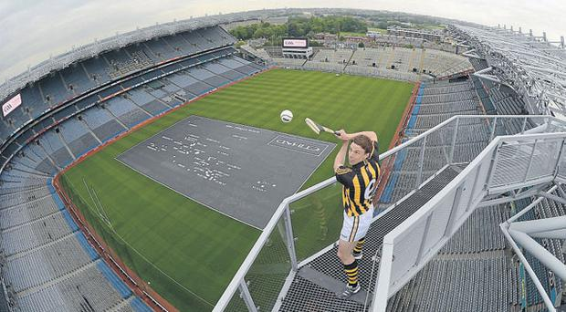 Brian Hogan on the Etihad Airways Skyline before taking part in the airline's charity Poc Fada at Croke Park yesterday