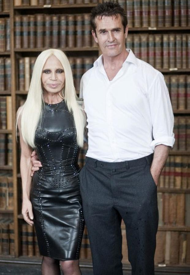 Donatella Versace with Rupert Everett at the Oxford Union. Photo: Rupert Hartley