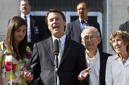 Former US Senator John Edwards makes a statement after the jury reached a verdict at the federal courthouse in Greensboro. Photo: Reuters