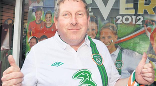 Ireland soccer supporter Jim Ryan pictured in Cork yesterday ahead of his trip to Poland for Euro 2012