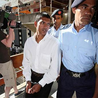 Avinash Treebhoowon arrives at the Supreme Court in Port Louis, Mauritius on day Nine of the trial. Photo: PA