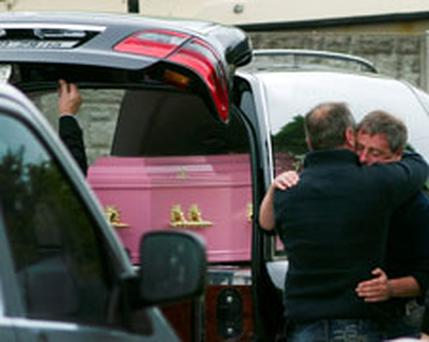 The remains of Nicola Furlong arriving to her home in Curracloe Co Wexford. Pic: Mark Condren