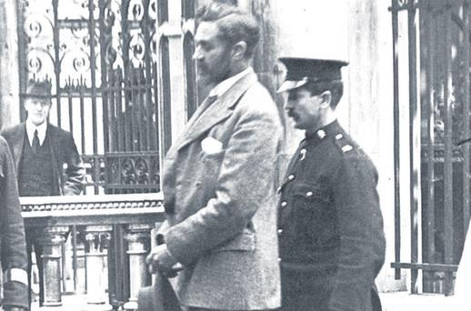 Execution: Roger Casement is escorted to the gallows of Pentonville Prison in London