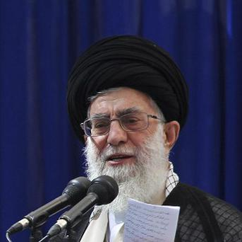 Iranian supreme leader Ayatollah Ali Khamenei delivers a speech (AP)