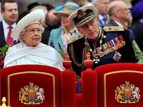 Queen Elizabeth and Prince Philip on the Spirit of Chartwell during the Diamond Jubilee River Pageant on Sunday.