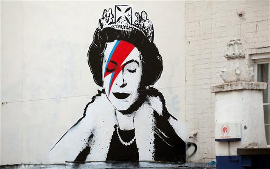 Street artist Banksy is believed to have created this tribute to the Queen's Diamond Jubilee on Upper Maudlin Street in the artist's home city of Bristol