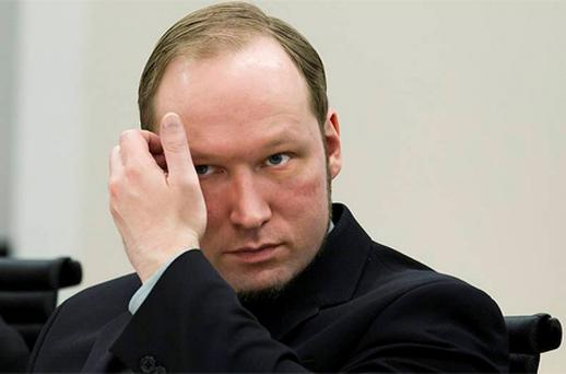 Anders Behring Breivik attends his trial at a courtroom in Oslo. Photo: Reuters
