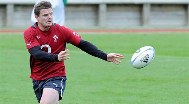 Ireland's Brian O'Driscoll in action during squad training ahead of their Steinlager Series 2012 1st test against New Zealand on Saturday 9th June. Photo: Sportsfile
