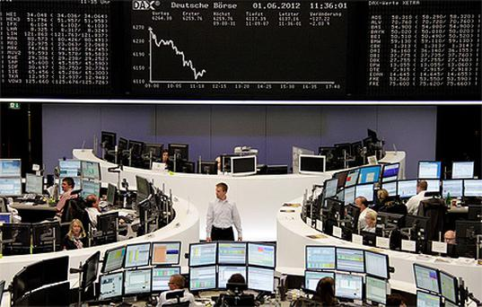 Traders at the Frankfurt stock exchange