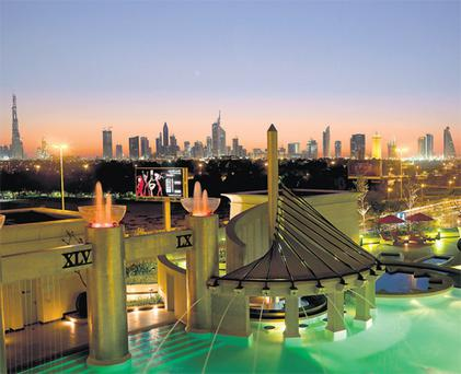 The high life: The view of the Dubai skyline from Raffles hotel