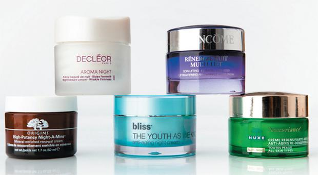 Pictured, bottom row,from left,: Origins High Potency Night-A-Mins; Bliss The Youth As We Know It Anti-Ageing Night Cream; Nuxe Nuxuriance Nuit. Top row: Decleor Aroma Night Wrinkle Firmness; Lancome Renergie Nuit Multi-Lift.