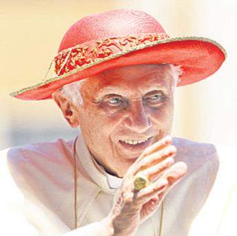 Pope Benedict: looking frail at Saint Peter's yesterday