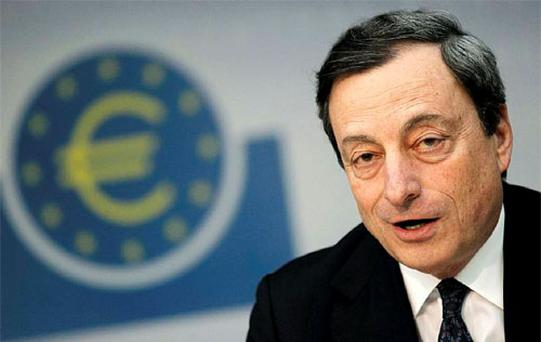 European Central Bank (ECB) President Mario Draghi speaks during the monthly news conference in Frankfurt. Photo: Reuters