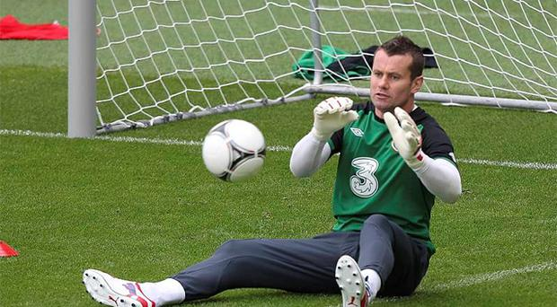 Shay Given during a training session at Municipal Stadium, Gdynia, Poland. Photo: PA