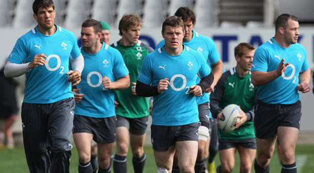 Brian O'Driscoll of Ireland leads the team around the field during Ireland's captain's run at Eden Park in Auckland, New Zealand. Photo: Getty Images
