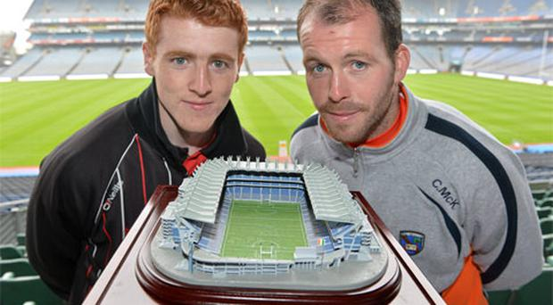 Peter Harte (left) and Ciaran McKeever at the launch of a replica model of Croke Park, which is available on line from supremestadium.com.
