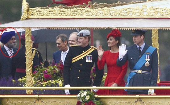 Mr Singh Rana (circled) was present on the Spirit of Chartwell, standing next to Prince Harry, the Duchess of Cambridge and Prince William