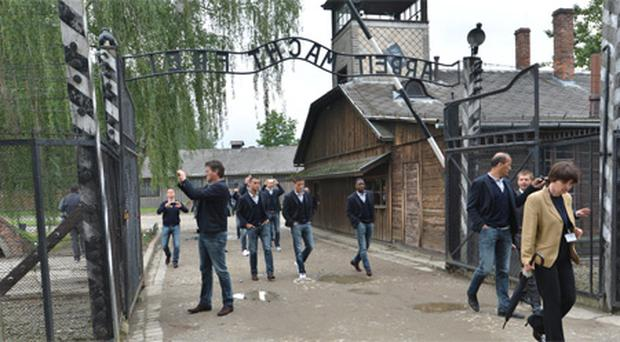 The Dutch squad during a visit to Auschwitz