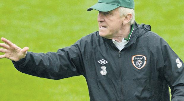 Giovanni Trapattoni urges on the Irish players during training in Gdynia yesterday