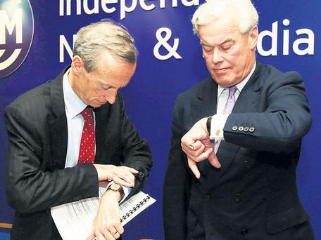 Vincent Crowley and David Reid Scott at the INM meeting in Dublin yesterday