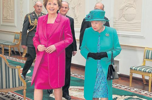 Former president Mary McAleese and the queen last year