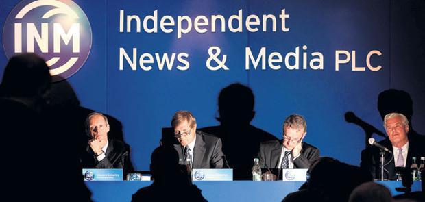 BOARDROOM DRAMA: From left, INM Chief Executive Vincent Crowley, Chairman James Osborne, Company Secretary Andrew Donagher and non executive director David Reid Scott at the Independent News & Media AGM at the Citywest Hotel last Friday. Photo: David Conachy