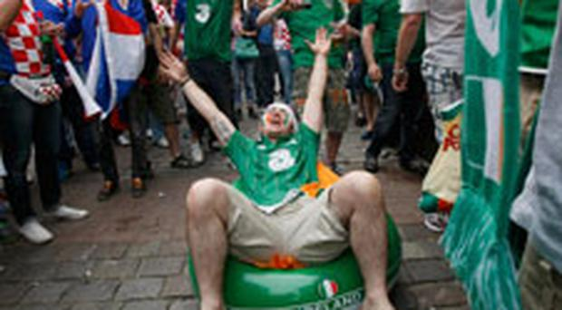 Ireland and Croatia fans getting ready for their big game tonight. Photo Reuters