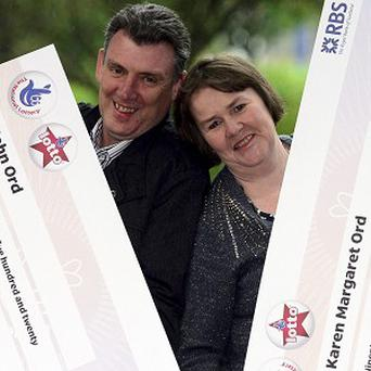 John and Karen Ord won 96,527 pounds on the lottery twice after accidentally buying two tickets (Camelot/PA)