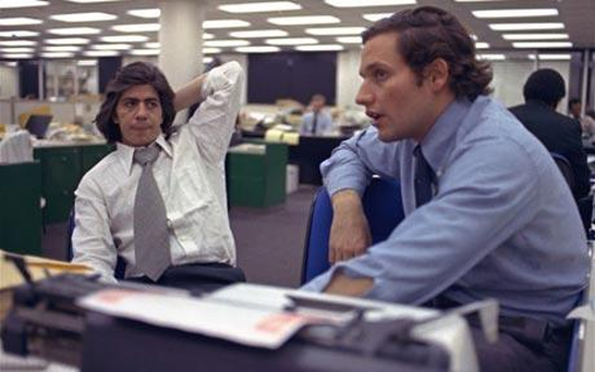 Reporters Bob Woodward, right, and Carl Bernstein, whose reporting of the Watergate case won a Pulitzer Prize Photo: AP