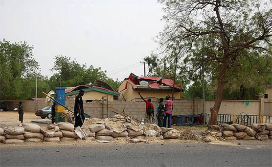A view of the entrance to the police headquarters in Nigeria's northeastern city of Maiduguri after a bomb attack. Photo: Reuters